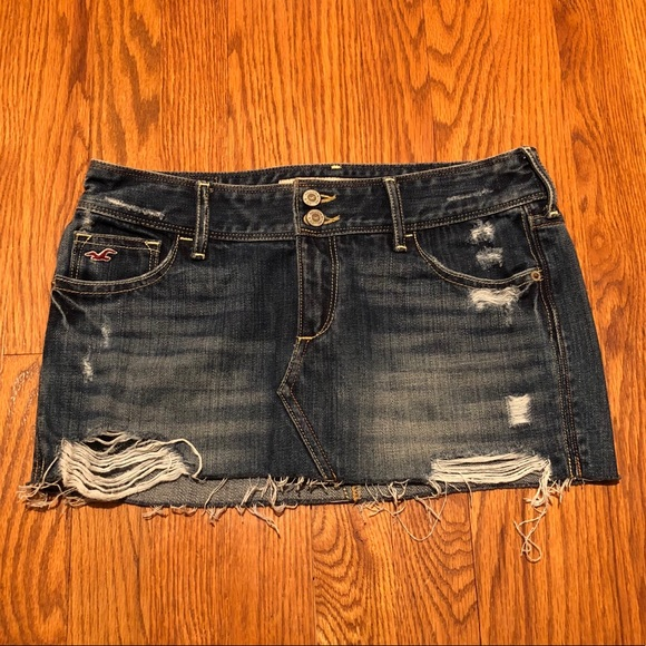 dc6dd90bf65c5a Hollister Skirts | Co Low Rise Destroyed Denim Mini Skirt | Poshmark
